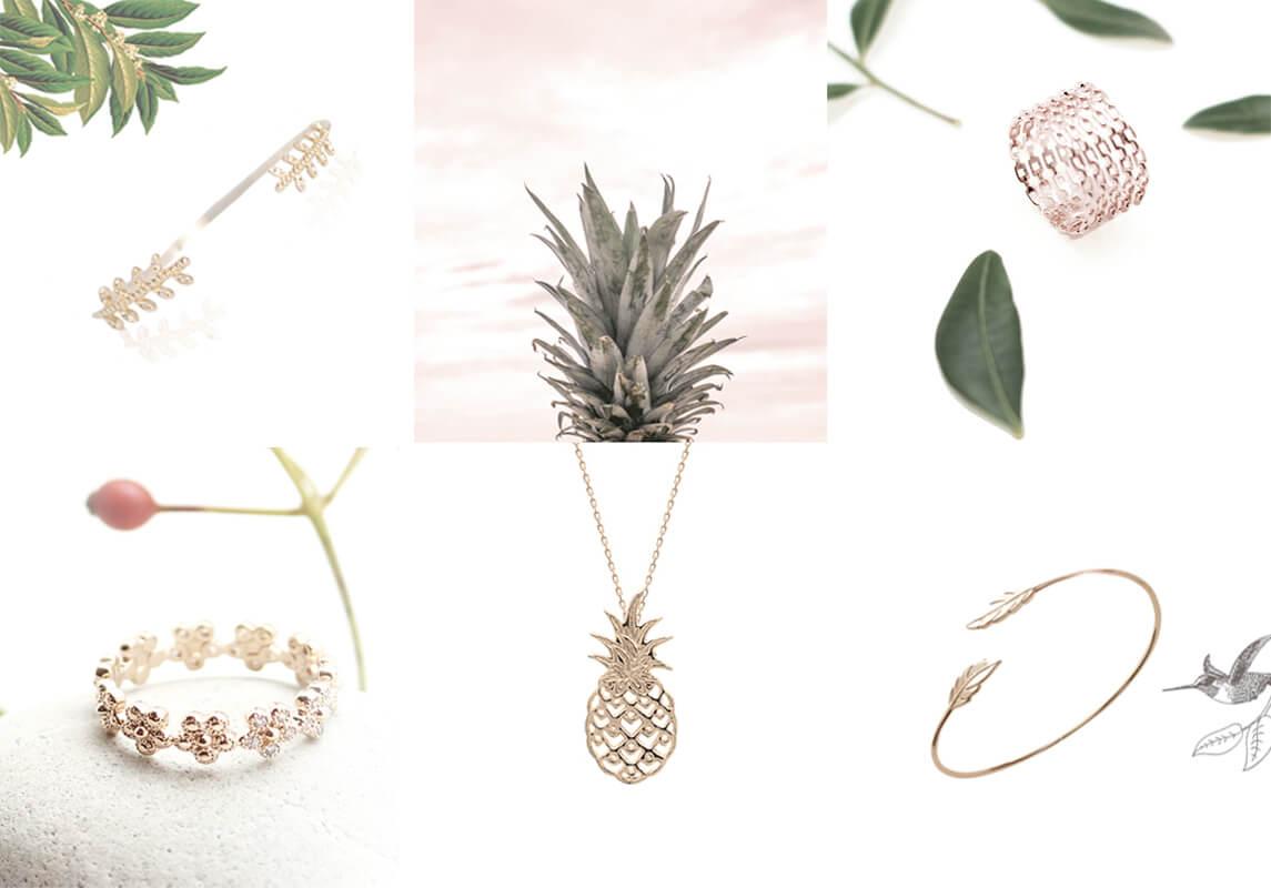 Bijoux en plaqué or de la Collection Poésie, chez Poisson Plume