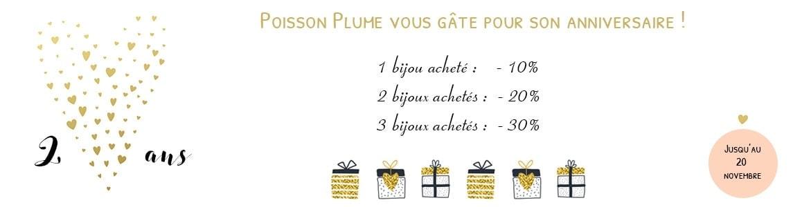 Anniversaire bijouterie en ligne Poisson Plume