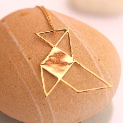 Collier origami bijouterie fantaisie poésie Poisson Plume