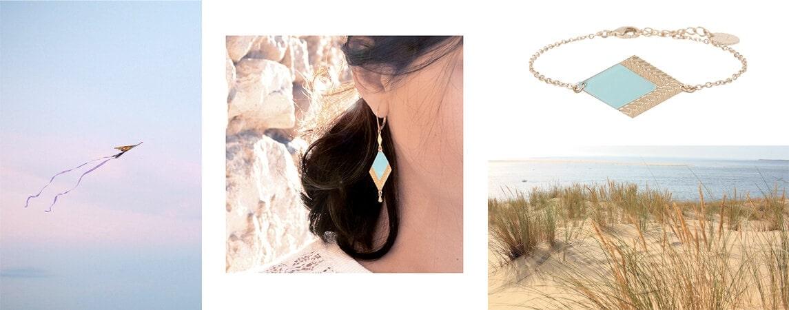 boucles d'oreilles et bracelet bleu de créatrice Collection été chez Poisson Plume