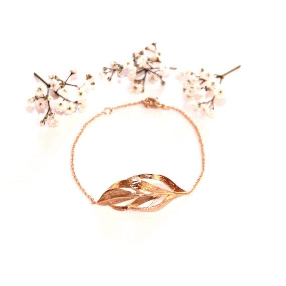 bracelet feuille automne plaque or