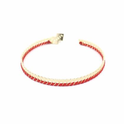 Bracelet de créateur doré et tissé rouge