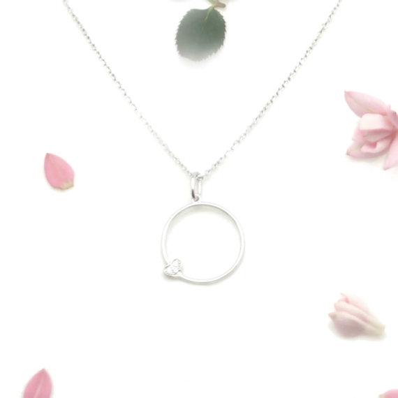 collier fantaisie en argent petit oeur chez Poisson Plume bijoux