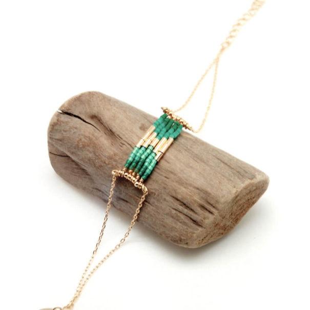 Bracelet Folk vert emeraude de la créatrice Caroline Najman