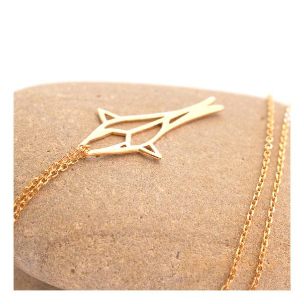 collier pendentif poisson en plaqué or