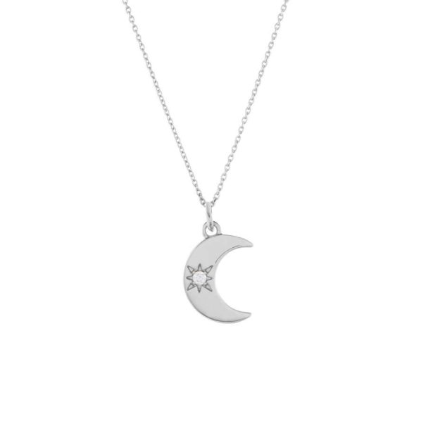 Collier fantaisie de createur pendentif lune
