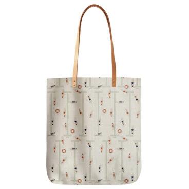 sac en coton et anses en cuir motif nageuses retro de chez Maison Baluchon chez Poisson Plume