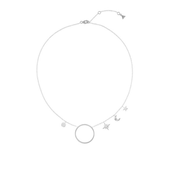 collier cercle lune et étoiles aldébaran en argent rhodié