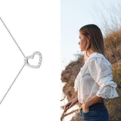 collier coeur en argent nommé lueurs. Envente chez Poisson Plume, bijoux de créateurs.