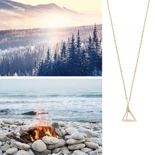 Collier geometrique mystic fire chez poissonplume bijoux