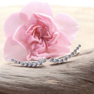 Boucles d'oreilles contour en argent et brillants chez Poisson Plume bijoux
