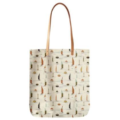 sac en en toile de coton motif voiliers de chez Maison Baluchon chez Poisson Plume