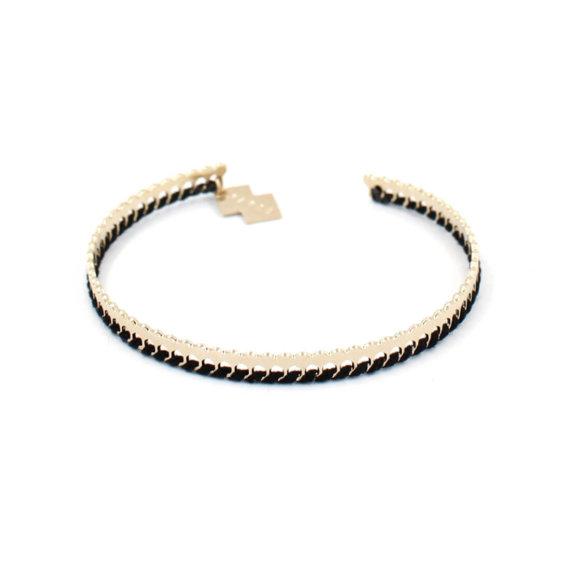 Bracelet fantaisie doré et noir