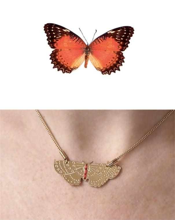 Collier de créatrice papillon rouge