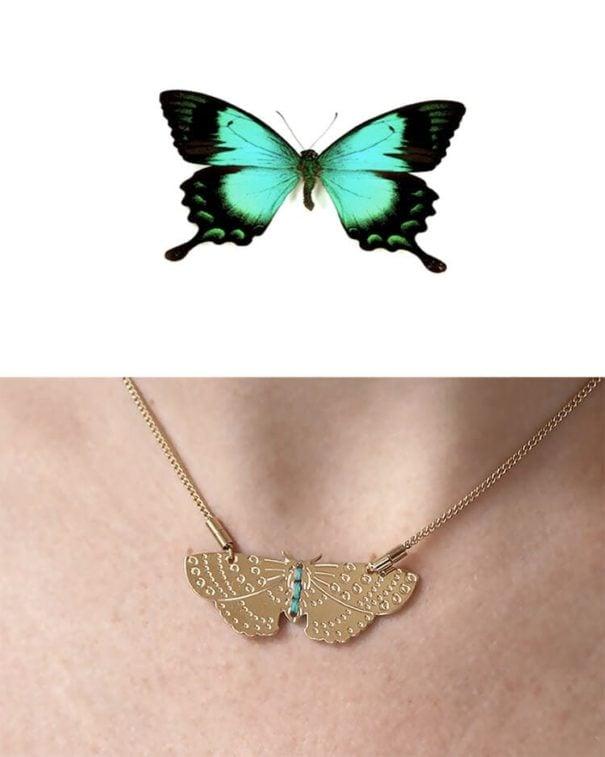 Collier fantaisie de createur, Pendentif papillon, chez Poisson Plume