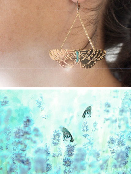 Boucles d'oreilles fantaisie papillon turquoise
