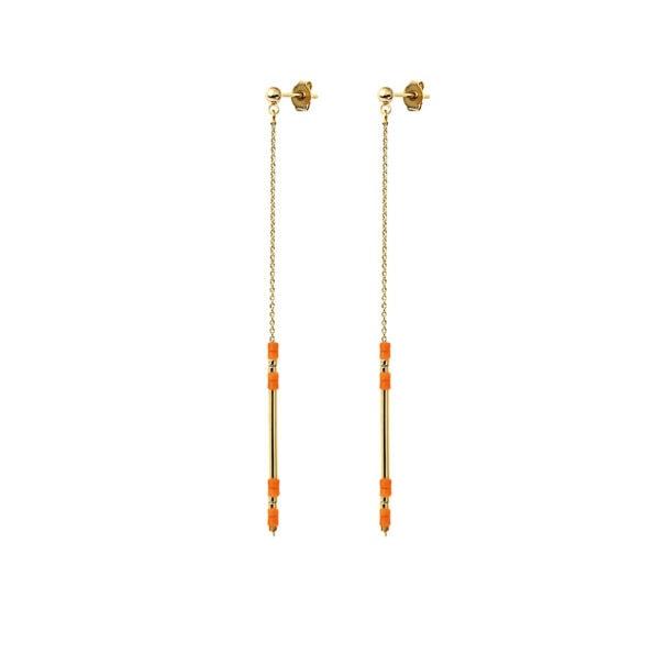Boucles d'oreilles pendantes Alexandra couleur corail