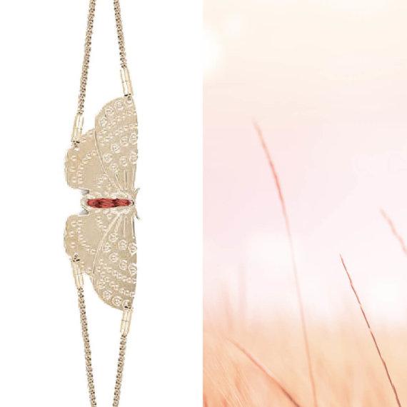 Bracelet papillon doré à l'or fin made in france, chez Poisson Plume