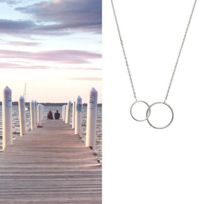 collier deux anneaux en argent, en vente chez Poisson Plume