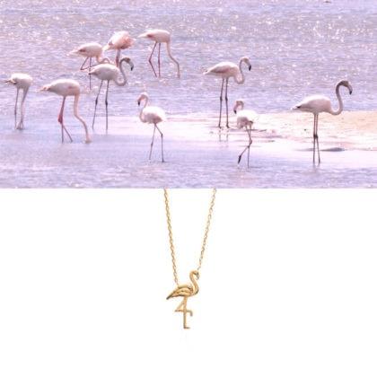 Collier flamant plaqué or en vente chez Poisson Plume bijoux