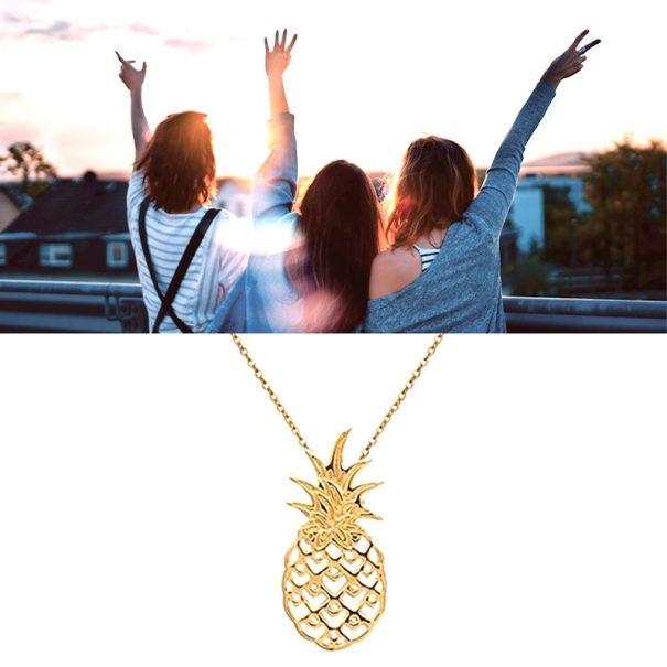 Collier pendentif ananas plaqué or