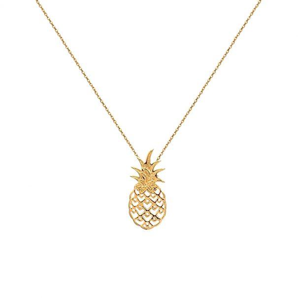 Collier au pedentif ananas. Un collier en plaque or.