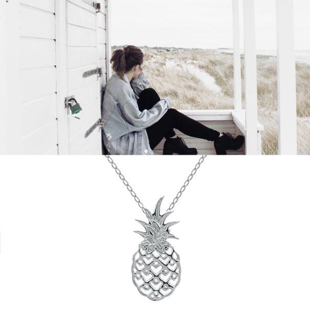 Collier pendentif ananas en argent che zpoisson plume bijoux
