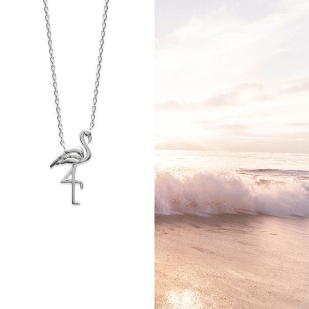collier estival pendentif oiseau en argent 925