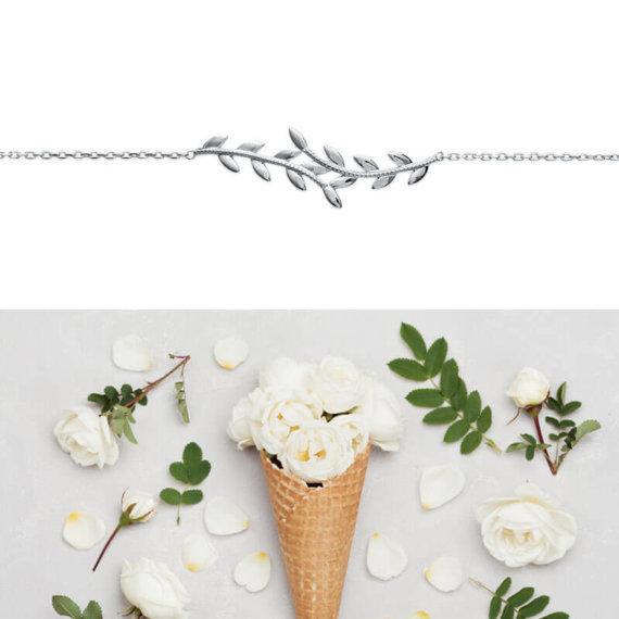 Bracelet leaves en forme de feuilles, argent rhodié. Chez Poisson Plume