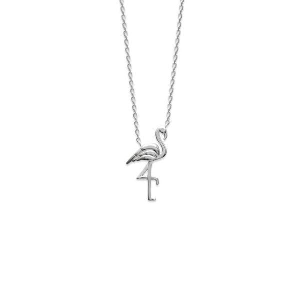 Détail du collier en argent rhodié 925 flamant