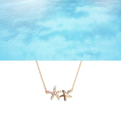 Collier fin caraibes avec un motif étoiles de mer, chez Poisson Plume