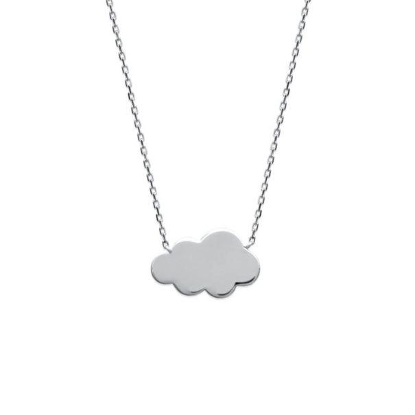 Collier wonderland en argent rhodié en forme de nuage, en vente chez Poisson Plume bijoux