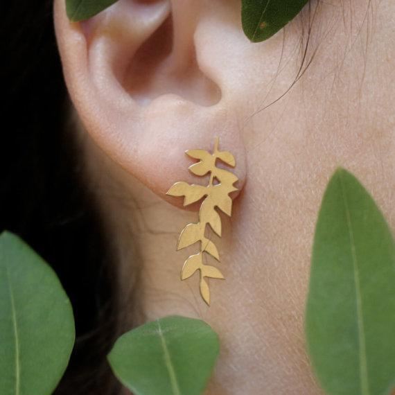 boucles de créatrice au motif feuille de frêne, dorées à l'or fin