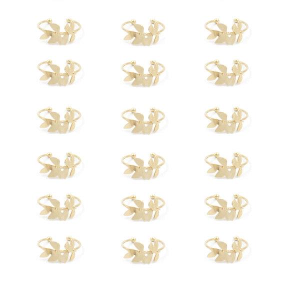 bague dorée à l'or fin motif végétal frêne, chez Poisson Plume bijoux
