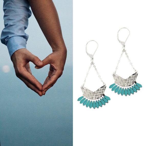 boucles d'oreilles fantaisie pendantes Laëti Trëma en argent et couleur turquoise