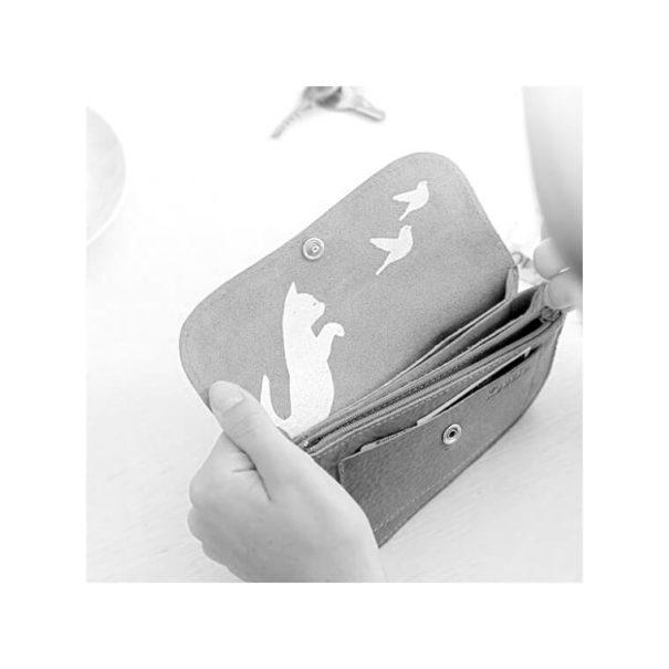 Intérieur du porte-monnaie de créateur Keecie, avec une sérigraphie chat
