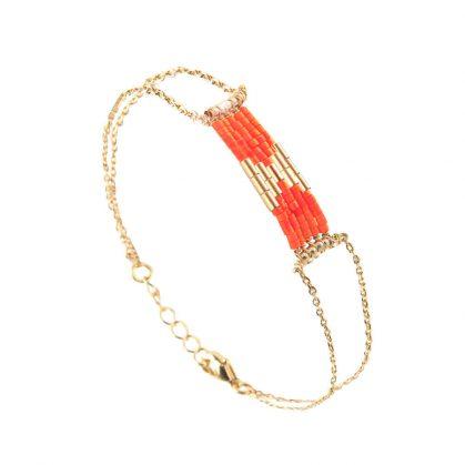 Bracelet de créateur folk corail ahute fantaisie chez poisson plume