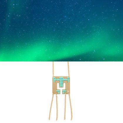 Collier long dore et turquoise camille enrico chez Poisson Plume bijoux