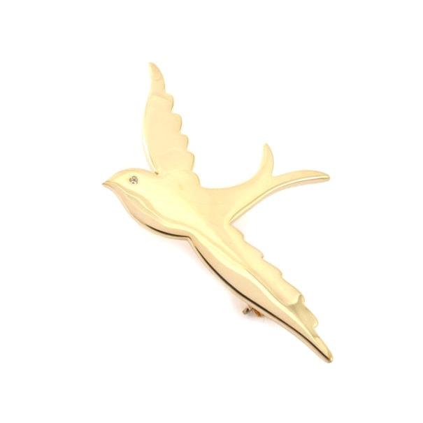 broche oiseau en plaqué or