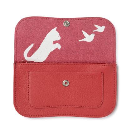 porte-monnaie en cuir rouge de la marque Keccie