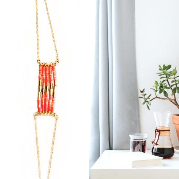 Bracelet de créateur mini folk corail