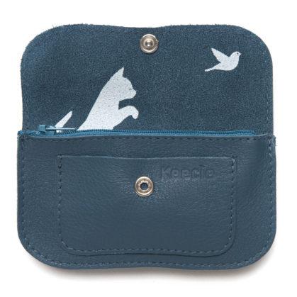 porte monneie en cuir bleu keecie