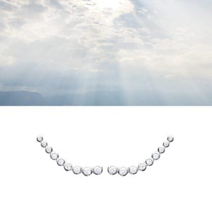Boucles contours d'oreillles en argent et brillants