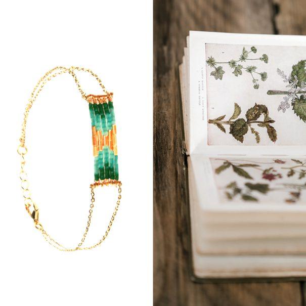 Bracelet de créateur folk bohème vert sapin haute fantaisie chez poisson plume
