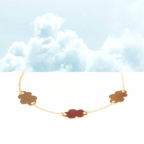 Bracelet fin doré forme nuages
