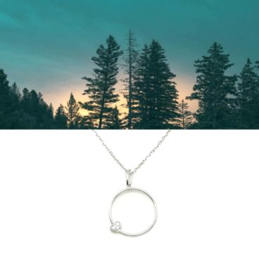 Collier pendetif cercle et coeur, en argent, chez Poisson Plume bijoux