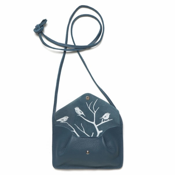 sac bandoulière en cuir bleu profond