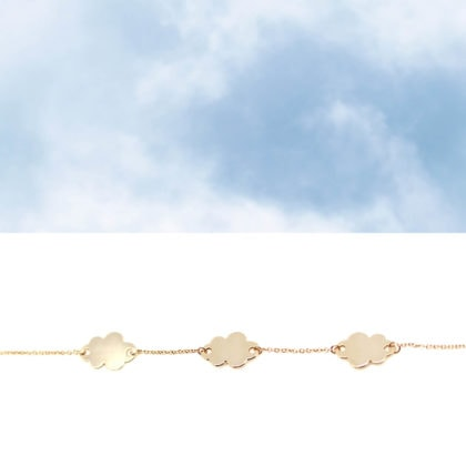 Bracelet fin nuages plaque or