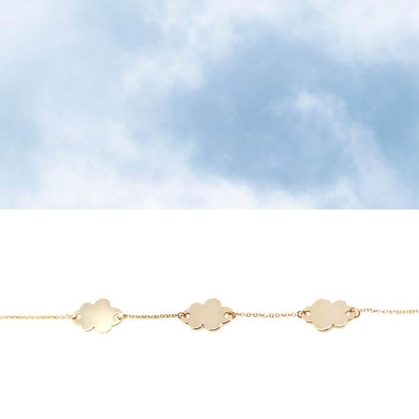 Bracelet fin nuages plaque or