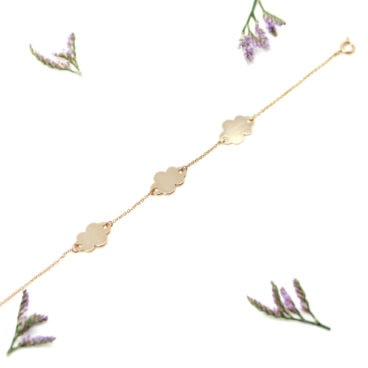 bracelet nuages plaque or
